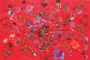 Il giardino dei cachi in rosso, tecnica mista su tela, 100x150, 2014