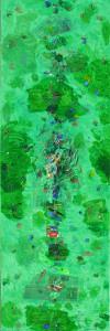 Il giardino dei cachi in verde, tecnica mista su tela,100x150, 2015